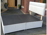 Double Bed Divan - almost pristine. No mattress. From non-smoker home. Pale grey. Can deliver. £50