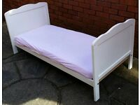 junior child bed with matress. frame 174cm x 74cm. in very good condition
