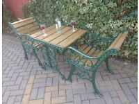 SET OF CAST IRON GARDEN OR PATIO TABLE AND PAIR OF CHAIRS IN GREEN