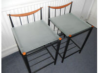 Metal and Glass Lamp Tables or Bedside Tables