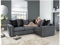 BLACK AND CHARCOAL BRAND NEW CORNER SOFA EXPRESS FREE DELIVERY