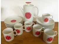 Vintage Thomas Rosenthal, Pink/Red Tulip Pinwheel design Coffee Set