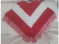 Womens pink and white poncho