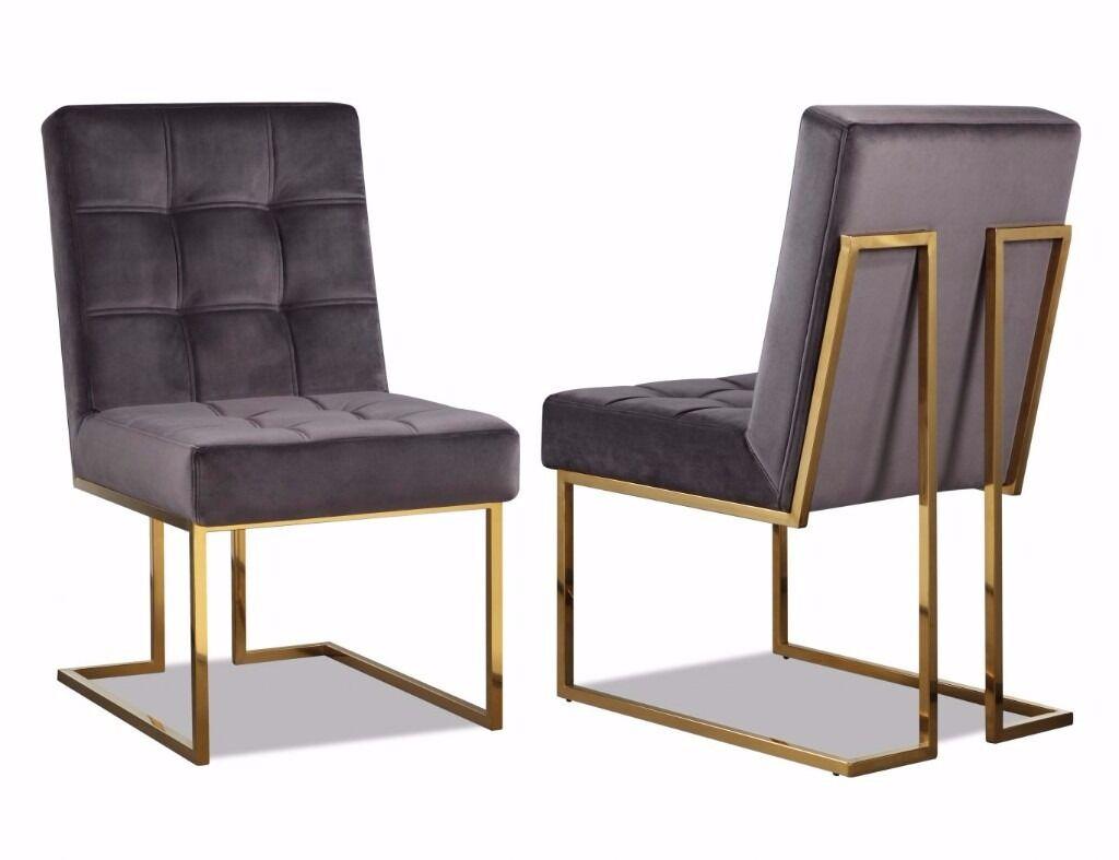 3 X Warhol Night Grey Velvet Dining Chairs With Brass Legs