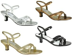 NEW-Melanie-Glitter-Sandals-Kitten-Heels-Black-Silver-Gold-Bronze-Medium-or-Wide