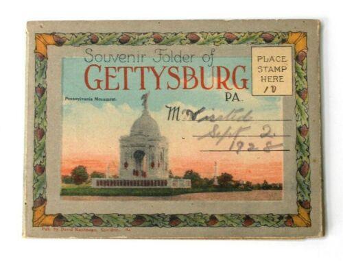 Souvenir Postcard Folder Gettysburg PA Monuments 1928 David Kaufmann Publishers