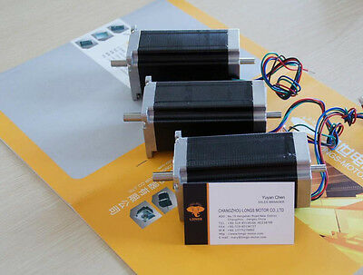 3 Pcs Stepper Motor Nema 23 4 Leads Bipolar 425 Oz.in3nm Dual Shaft Cnc