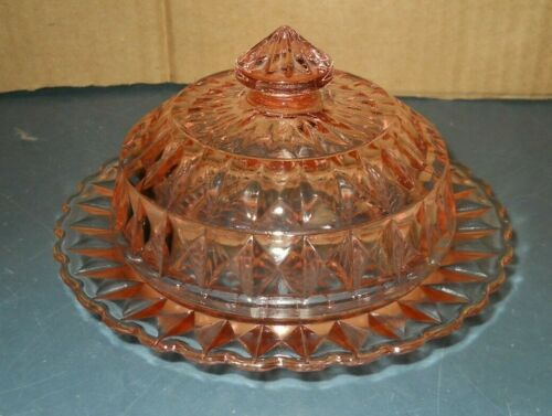 VINTAGE JEANNETTE PINK DEPRESSION GLASS WINDSOR DIAMOND LIDDED BUTTER DISH
