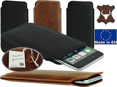 Slim Tasca Custodia Cover realizzata in vera pelle a manicotto per cellulari