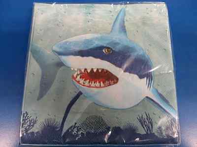 Cool Shark Ocean Luau Beach Pool Theme Birthday Party Paper Luncheon Napkins (Beach Birthday Theme)