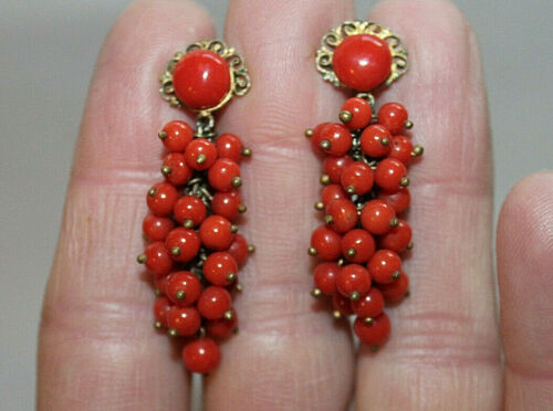Antique Art Deco Sterling Silver Red Coral Grape Cluster Earrings