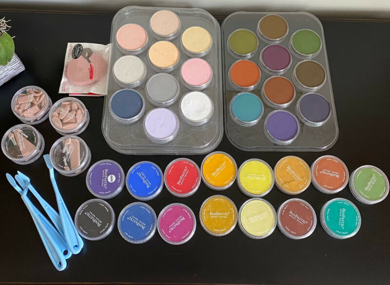 Panpastel Artist Pastel Set Of 35 Colors, 4 Knives And Covers, 2 Palette Trays.