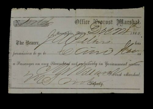 AUTHENTIC 1862 MILITARY TRAVEL PASS FROM THE OFFICE OF THE PROVOST MARSHALL