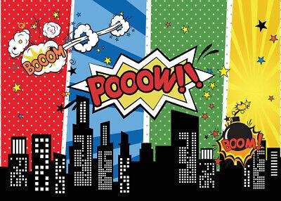 Cartoon Superhero City Birthday Party Background Photo Backdrop Studio Props - Superhero City Backdrop