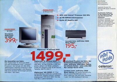 VOBIS EXTRA - DENKZETTEL Prospekt 16.04.1998 Highscreen,IBM,PC,Computer,Drucker
