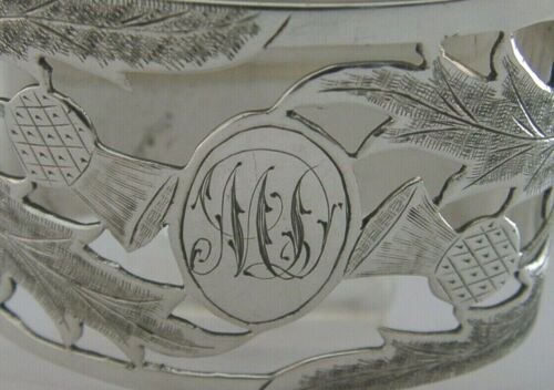 ABERDEEN SCOTTISH PROVINCIAL SOLID SILVER NAPKIN RING 1936 THISTLES ANTIQUE