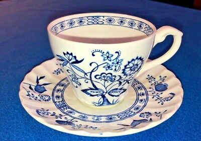 J&G Meakin England Classic White Nordic Tea Cup Saucer Blue Onion Discontinued for sale  Appleton
