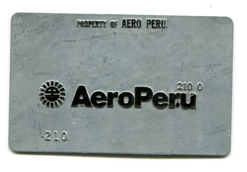 Vintage Airline Ticket Validation Metal Plate AERO PERU AIRLINES travel agent