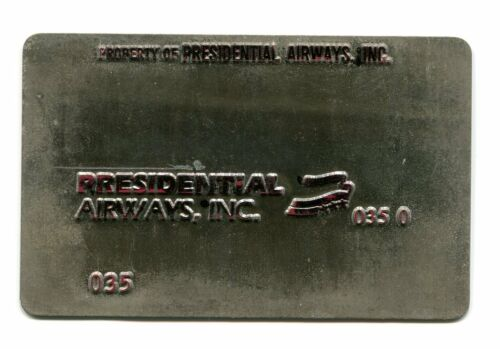 Vintage Airline Ticket Validation Metal Plate PRESIDENTIAL AIRWAYS travel agent