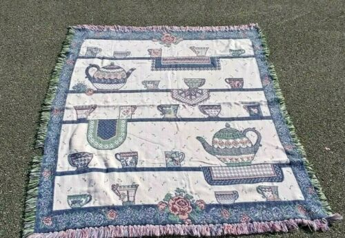 Teapots and Cups Afghan Throw Fringe Blanket
