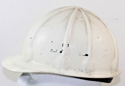 Vintage Superflex Fibre Metal White Hard Hat Usa Union Made Plastic 1970s