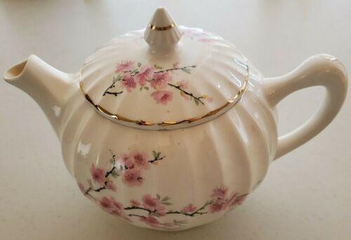 Vintage W S George Peach Blossom Bolero Teapot 22k Gold Trim