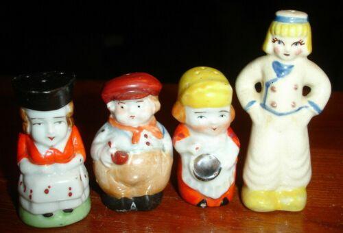 old German Fat Pipe Man + Dutch Lady + School Marm Single Salt Pepper Shaker LOT