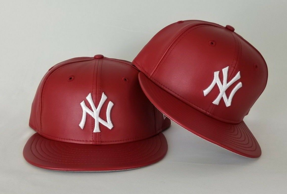 9e646eeb3b4 Details about New Era MLB New York Yankee 59Fifty Red on White PU Faux Leather  Fitted hat