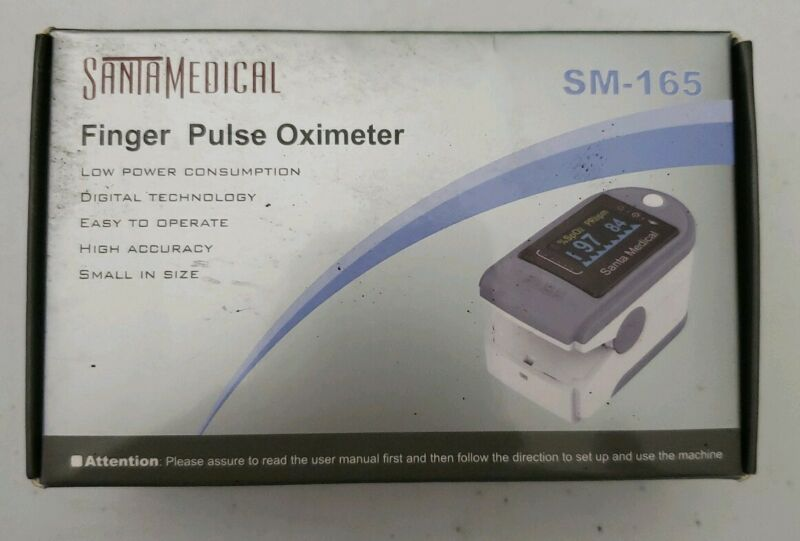 Santamedical Finger Pulse Oximeter sm-165 with Case. Batteries Included.