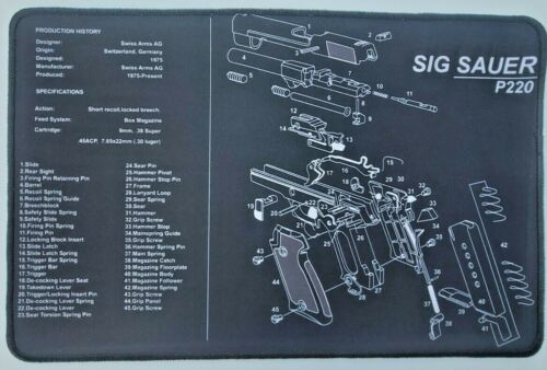 "Sig Sauer P220 Premium Stitched Non-slip Gun Cleaning Mat 11x17"" Fast Free Ship!"