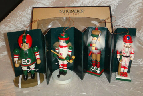 Vintage Nutcracker Village Sport Ornaments Set of 4