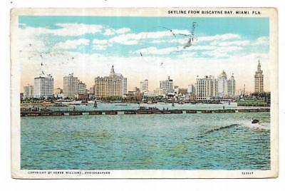Vintage Florida Linen Postcard Skyline From Biscayne Bay Miami VERY -
