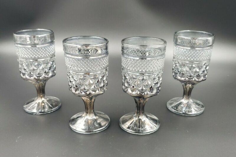 4 Anchor Hocking Wexford Smoke Vintage Claret Wine Juice Goblet Iridescent Glass