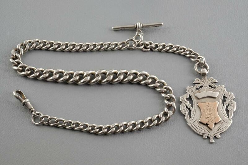 Antique Solid Silver Graduated Albert Watch Chain & Silver Fob - 75 gms - c.1892