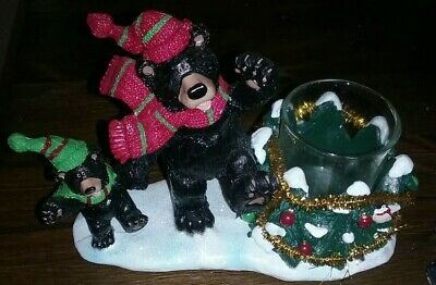 Yankee Candle Christmas Bears Votive Candle Holder 2012 Mom and Cub