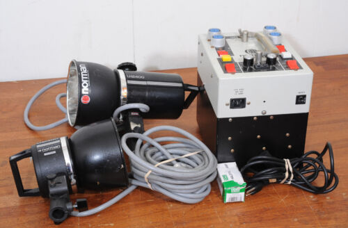 NORMAN P800-D WITH 2 LH2400 STROBE HEADS, 1 WITH FAN, STROBE KIT