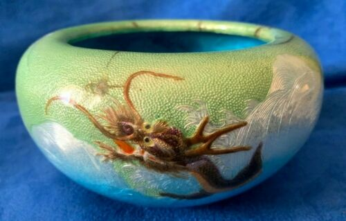 Vintage Japanese Guilloche Enamel Silver Bowl Dragon marked