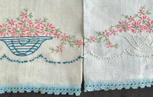"""2 pair antique linen tea towels w hand embroidered flowers, 26x16,"""" exc cond"""