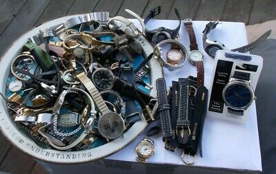 HUGE LOT Vintage Watches Men's Fossil Ingersoll Timex Anne Klein Bands Designer
