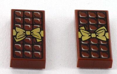 2 Stück Schokolade (2 Stück LEGO Fliese Schokolade, Tafel, Schokoladentafel, 1x2, NEU)