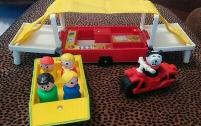 Vintage Fisher Price Little People Motorcycle, Boat, Pop Up Camper #992, ++