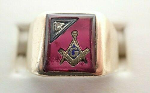 10k Solid Yellow Gold Masonic Vintage Enamel Ruby Diamond Ring Parts Repair