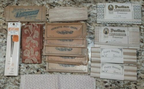 Sewing Lot NOS Puritan Lingerie Trimmings Georgette Picot Edging Fairy Braids