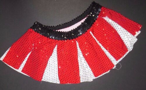New FAUX SEQUIN SKIRT White Red Girls xsm sz 2-4 Circle carwash double