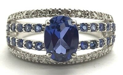 Sterling Silver Oval - Round Blue Tanzanite Pave - Diamond Accent Cocktail Ring Pave Tanzanite Ring