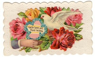 Vintage Beautiful Victorian Hidden name card With Love and Fond Wishes Dove