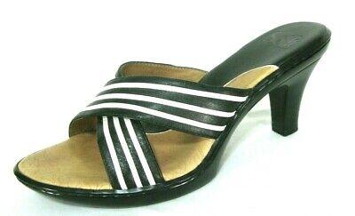 Sofft Shoes Sz 7.5 Slides Sandals Heels Slip On Black & White Stripe Strappy -