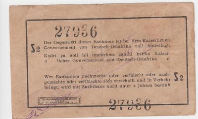 Deutsch Ostafrika 1 Rupie 1916 Seriennummer 27936 handschriftlich verbessert