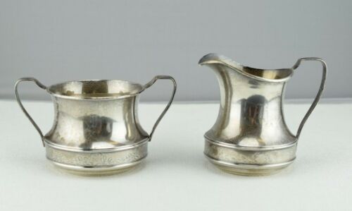 Sterling Silver R Wallace & Sons Creamer and Sugar Bowl Set  1527
