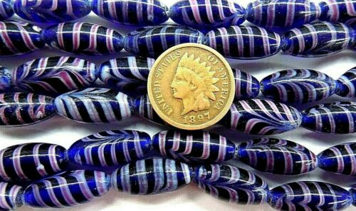 Cobalt Feather Lamp Trade Beads { 12 }  Antique Venetian style